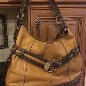 Tignanello Brown / Black Leather Shoulder Bag